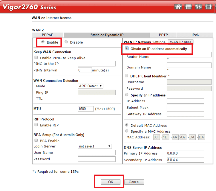 Configuring Vigor2760 Delight for Ethernet WAN Connection